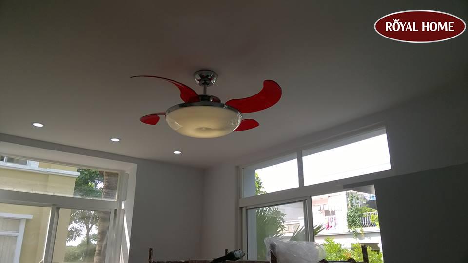 Ceiling Fan Fresh Lighting Retractable Blade Quat Tran Trang Tri Vento Mela Canh Do